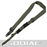 TOOGOO(R) Airsoft War Game Adjustable Black Dual Alloy Clasp Nylon 3 Point Rifle Gun Sling Olive Green