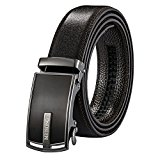 Leather Belts for Men - Automatic Buckle Ratchet Slide Holeless - Long 52