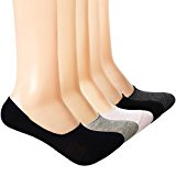 Yolev Low Cut No Show Socks Cotton Socks for Men Loafer Flat Shoe with Anti-slip Silicone Pad 5 Pairs Size 6-8.5