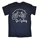 123t Men's The Voices In My Head Keep Telling Me ... Go Cycling T-SHIRT birthday funny gift for him for her
