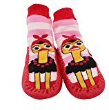 Baby Toddlers Kids Indoor Slipper Shoe Socks Moccasins NON SKID RED OSTRICH