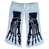 Men's Socks - TOOGOO(R)Men's 5-Toe Socks for Flip Flops Skull Skeleton Pattern White