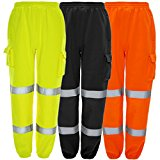 MyShoeStore® HI VIZ VIS JOGGING BOTTOMS HIGH VISIBILITY COMBAT CARGO THICK BRUSH FLEECE TROUSERS REFLECTIVE TAPE SAFETY WORK WEAR ELASTICATED WAIST JOGGERS SWEAT JOG TRACKSUIT PANTS