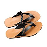 Maikun Shoes Mens Beach Triangular Strap Genuine Leather Thong Sandals