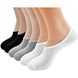 6 Pair of Men Boys Elastic Silicone Bamboo Fiber Non-slip No Show Low Cut Socks Invisible Socks Black Light Grey and White