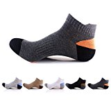 Waymoda Unisex 5 Pairs Low Cut Ankle Crew Socks, Breathable and Comfy, Outdoor Running Hiking Dancing Yoga Trainer Sports Sneaker Sox, 5 Color/Set, Combed Cotton, Men/Women/Boys/Girls UK 2-6/EUR 35-39