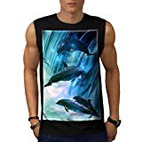 Dolphin Glitter Jump Wave Hop Men NEW Black White Grey Red Navy S-2XL Sleeveless T-shirt | Wellcoda