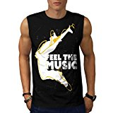 Feel The Music Jump Headphone Men NEW Black White Grey Red Navy S-2XL Sleeveless T-shirt | Wellcoda