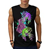 Siamese Fight Fish Splash Mode Men NEW Black White Grey Red Navy S-2XL Sleeveless T-shirt | Wellcoda