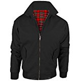 MyShoeStore® VINTAGE HARRINGTON JACKET ADULTS UNISEX MENS LADIES WOMENS HARRINGTON CLASSIC RETRO SCOOTER 1970'S BOMBER MOD SKIN TARTAN LINING COAT TOP SIZE XS-5XL