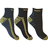 3 Pairs of Mens Ultimate Work Trainer Socks with Re-inforced Heel and Toe / UK Size 6-11 Eur 39-45
