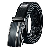 Leather Belt - Automatic Buckle Ratchet Slide Holeless Strap - Long 50