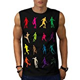 Footbal Play Figure Ball Player Men NEW Black White Grey Red Navy S-2XL Sleeveless T-shirt | Wellcoda