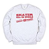 Skater Sweatshirt - Hell On Wheels - Skateboard Longboard Roller Derby Skate Rad Skater Men's Women's Unisex Printed Jumper Long Sleeve Shirt