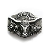 Bull and cowboy with Longhorn Belt Buckle Western Belt Buckle (Belt for men and women | Belt Woman Men Riding Horse Ranch Rodeo Texas USA Silver Old School Metal Trucker)
