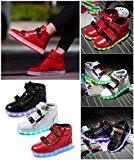 Unisex Kids High Top Luminous LED Light Shoes LaceUp Grils Boys Casual Sneakers