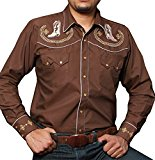Modestone Men's Embroidered Long Sleeved Shirt Cowboy Boots Filigree Brown