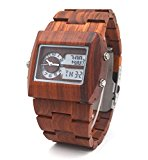 Uwood Red Sandal Wooden Watch Luxury Designer Japanese Double Movement LED Display Wood Watch For Men
