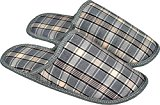 Mens Textile Mules Lightweight Home Slippers Check Pattern