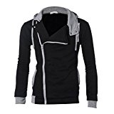 OverDose Men's Hoodies Solid Hooded Zipper Cotton Blend Hoody Outwear Jacket