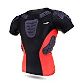 Shinmax Padded Compression Sports Short Shirt,Mens Boys Guard Padded Protective T-Shirt Shoulder Rib Protector Basketball Hockey Pad Football Short Sleeve Shirt