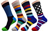 FULIER Mens 4 Pack Cotton Rich,Comfortable,Breathable,Designer Fashion Socks