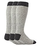 Workforce - 3 Pairs Mens Extra Long Knee High Thick Warm Wool Rich Knitted Boot Socks (WF0035GRY)