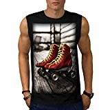 Retro Roller Blades Vintage Ride Men NEW Black White Grey Red Navy S-2XL Sleeveless T-shirt | Wellcoda