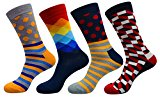 FULIER Men Fashion Colourful Stripe Dot Grid Pattern Soft Crew Cotton Socks 4 Pairs,Cotton Rich