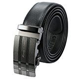 KS Men's Black Leather Automatic Stainless Steel Ratchet Buckle Belt KB053
