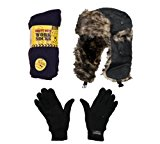 Mens Winter Thermal Christmas Gift Set Xmas Stocking Filler Trapper Ski Hat Thermal Glove Thermal Boot Work Socks