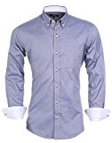 Year In Year Out Men's Slim Fit Button Down Oxford Shirts with Contrast Collar Classic Dress Shirt