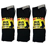 12 PAIRS MENS HEAVY DUTY BLACK WORK BOOT SOCKS UK 6-11 EUR 39-45