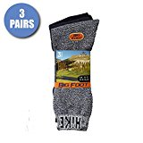 3 Pairs - Comfy Thick Cotton Hiking Trekking Walking Socks For Men or Women in Grey Black Navy - Size 11-13