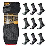 Mens 12 Pairs Cotton Work Boot Socks Hard Wearing Warm Cushioned Support UK 6-11 Eur 39-45