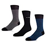 STÓR Men's Socks (3-Pack) Bamboo Antibacterial Designer Calf Socks Breathable Soft Socks Active Antifungal Solid Patterns Many Colours