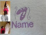 Adult Bath Robe with a BALLET SHOES Logo and Name of your choice in White, Size Medium, Large, XLarge or XXLarge