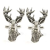 Stag Head English Pewter Cufflinks in Gift Box