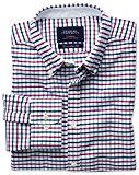Charles Tyrwhitt Extra slim fit navy and berry tattersall washed Oxford shirt
