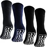 4 Pairs BRUBAKER ABS Home Socks Unisex - with non slip soles