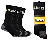 12 Pairs of Mens Black JCB Work Socks, Cushioned Sole and Reinforced Heel and Toe, Size 6-11