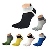 Rosennie Men Mesh Meias Sports Running Five Finger Toe Socks