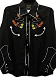 Modestone Men's Embroidered Long Sleeve Shirt Cowboy Boots Lassos Black