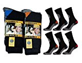 12x Mens Hard Wearing Wool Blend Work Socks - Safety Boot Socks - Excellent Quality - Comfort Guaranteed Size 6-11 Black