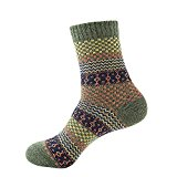 MORESAVE Men Wool Cashmere Soft Thick Sport Socks Checked Grid Pattern Comfortable Warm Socks
