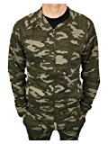 King Kouture Mens Skinny Fit Camo Bomber Zip Jacket in Khaki