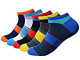 QBSM 5 Pack Mens Colorful Cotton Ankle Socks Sneaker Socks