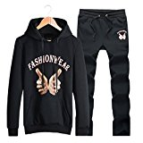 WALK-LEADER Mens Spring Outdoor Fashion Tracksuit Set Sporting Pullover Hoodie + Pants