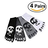 ULTNICE 4 Pairs Men's Casual Cotton Five Toes Socks Short Socks with Skull Pattern