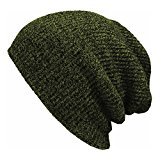PIXNOR Slouchy Winter Hats Knitted Beanie Caps Soft Warm Ski Hat (Army Green)